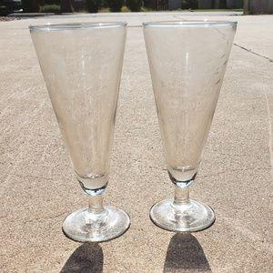 Pair Of Clear Glass Pilsner Beer Glasses Floral